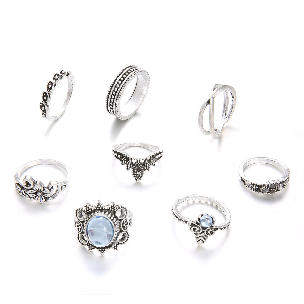 Antique Silver Crystal Rings 8pcs Set  Knuckle Finger Rings