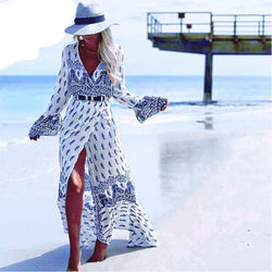 Bohemia  full sleeve  v-Neck print loose Maxi Long Beach Wear