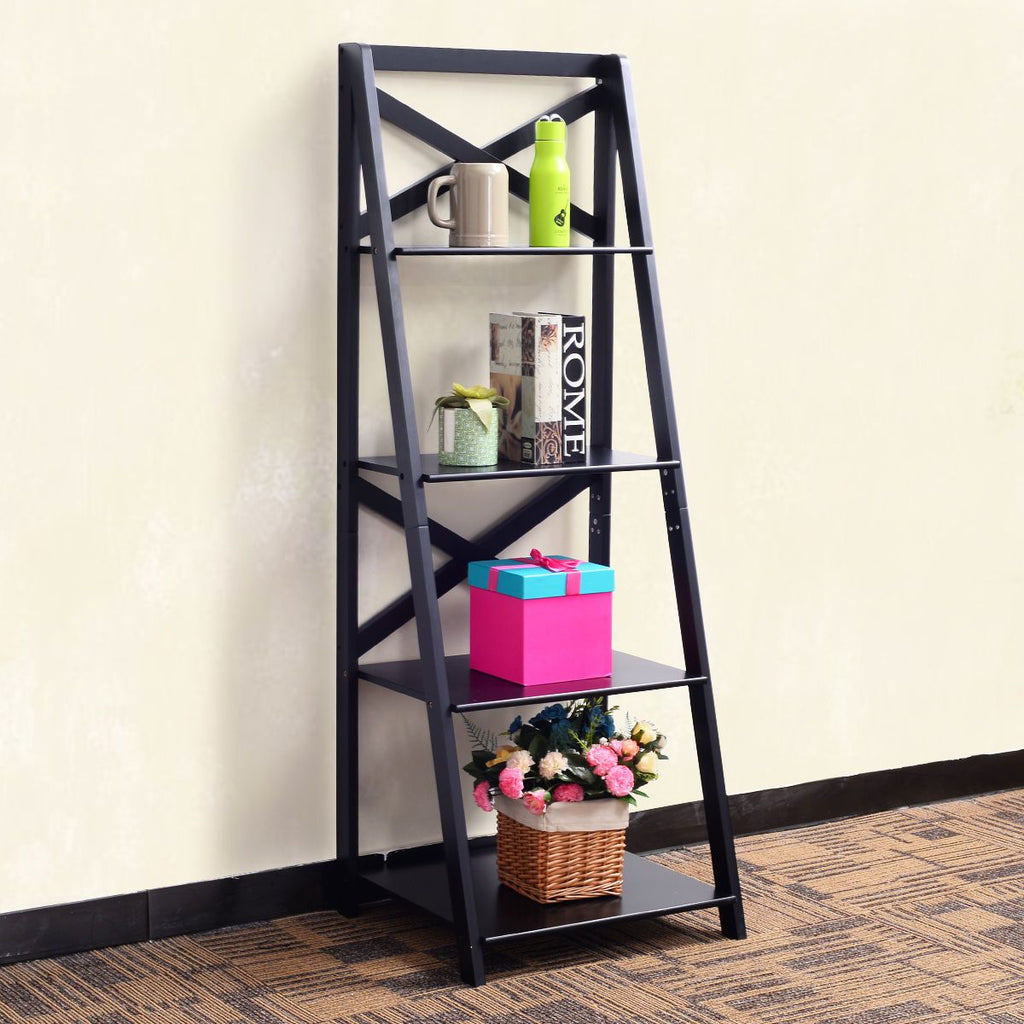 Bookcases & Bookshelves 4-Tier Ladder Shelf Storage  Bookshelf Bookcase  Display Costway Decor Ladder
