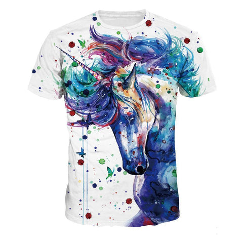 Unisex Casual 3D-Printed Unicorn  Short Sleeve T Shirt