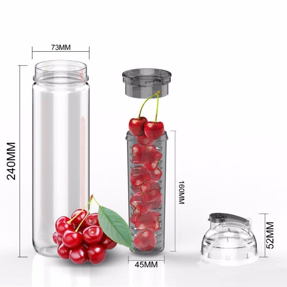 Black Sport Bottle Fruit Infuser Water Bottle Plastic