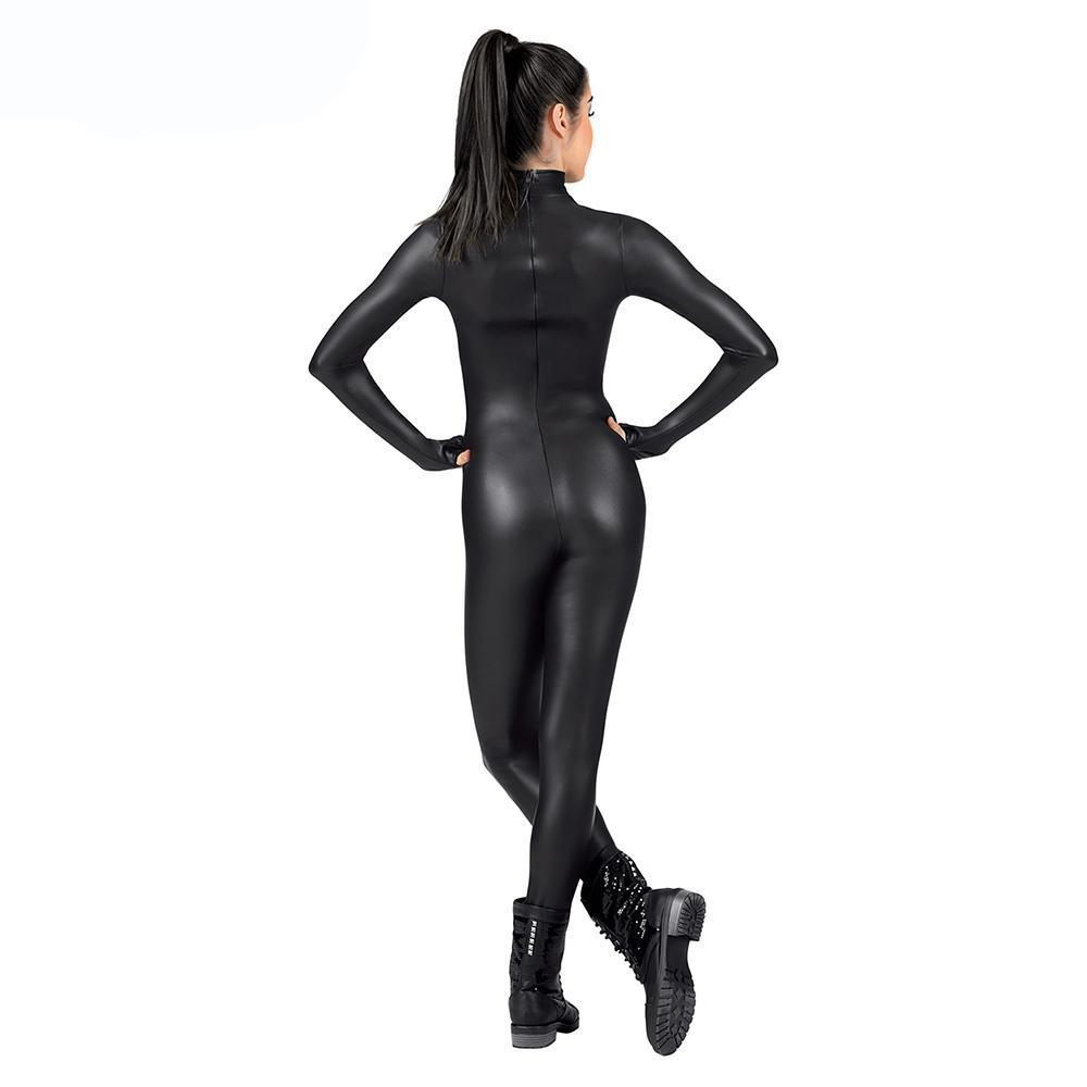 Black / XS Metallic Unitard Women's Lycra Spandex Full Bodysuit