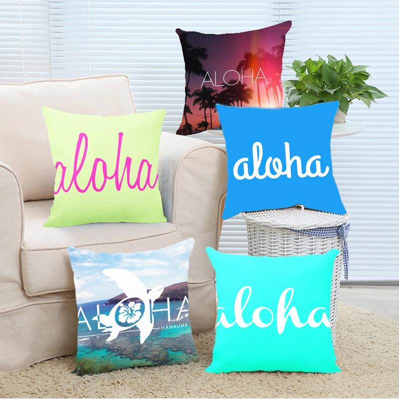 Cushion Cover 14x14 Inch / Style 10 Aloha Pillow Cover for Living Room