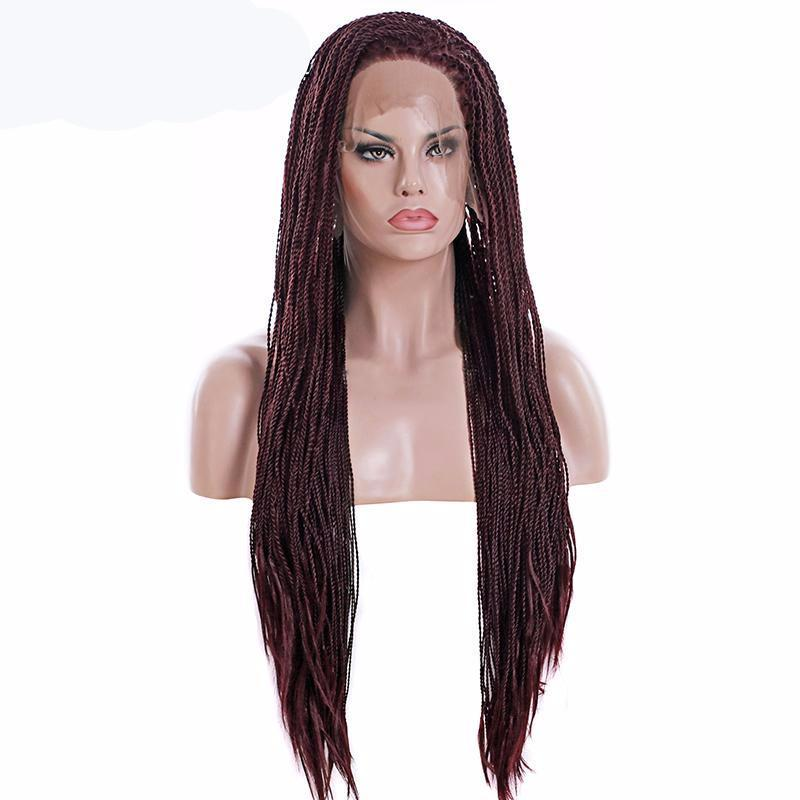 T1B/Burgundy / 22inches Brown Ombre Synthetic Braided Lace Front Wig