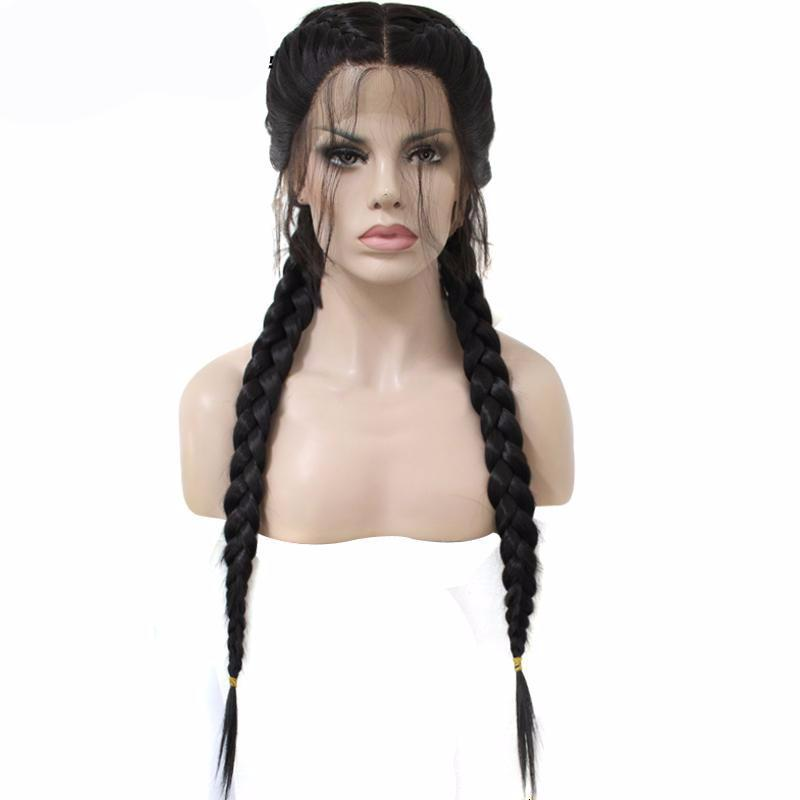 Brazilian Wigs Middle Part Long Synthetic Braided Lace Front Wig