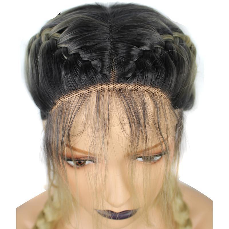Double Braids  Ombre Blonde Synthetic Braided Lace Front Wig