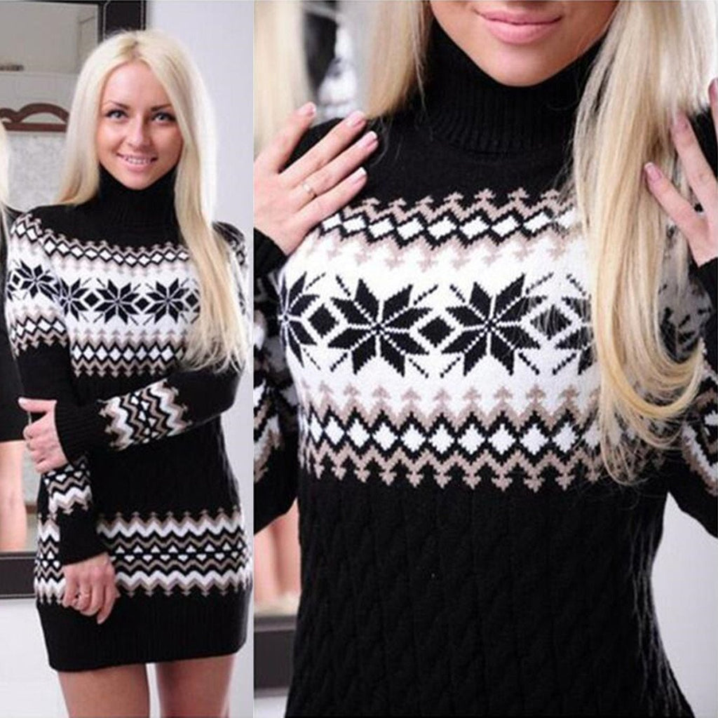Winter Turtleneck Pullover Women Long Sleeve Ugly Christmas Sweater