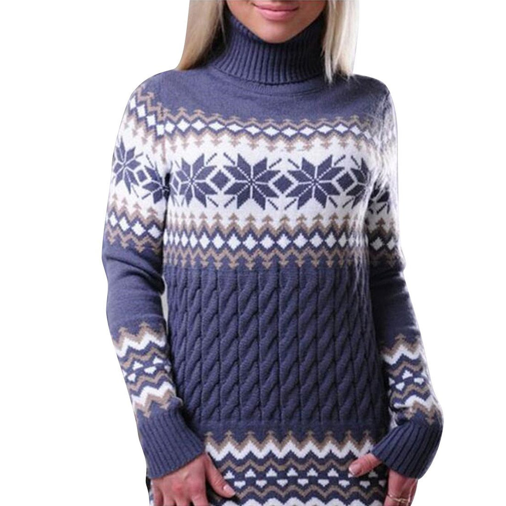 Black / L Winter Turtleneck Pullover Women Long Sleeve Ugly Christmas Sweater