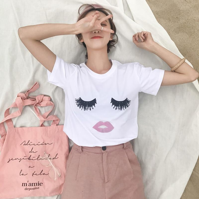 T-Shirts Eyelashes Red Lips Printed Ladies  Tees  Short Sleeve T'Shirts White / S