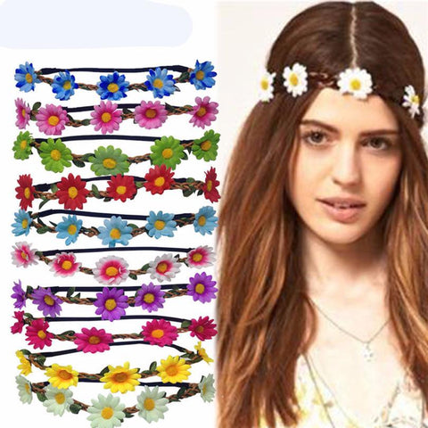 Boho Daisy Hair Bands for Ladies Girls Elastic Flower Hair Garland