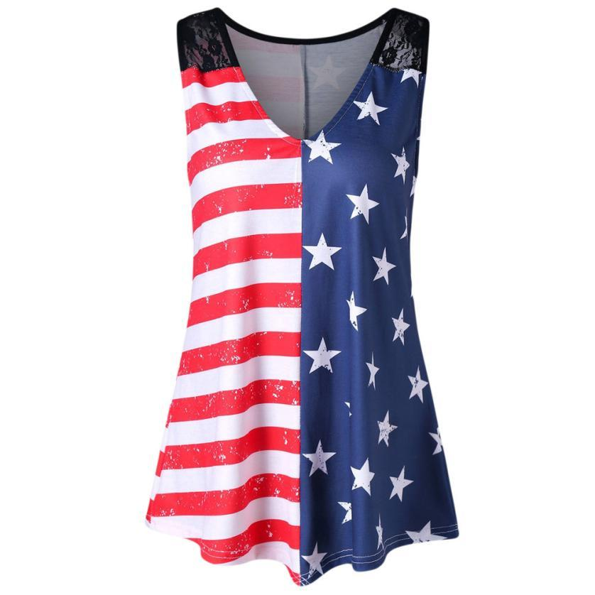 Tank Tops Multi / S Stars  & Stripes USA Summer  Sleeveless Shirt