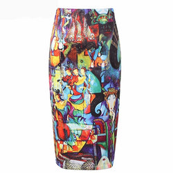 Abstract Art Oil Painting Graffiti Print High Waist Skirt