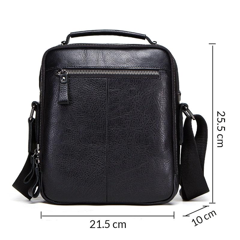 Genuine Leather Male Shoulder Messenger Bag black