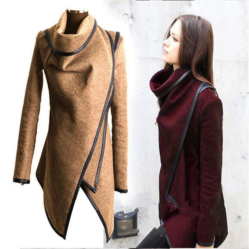 Asymmetric Trench Women Winter Woolen Overcoat