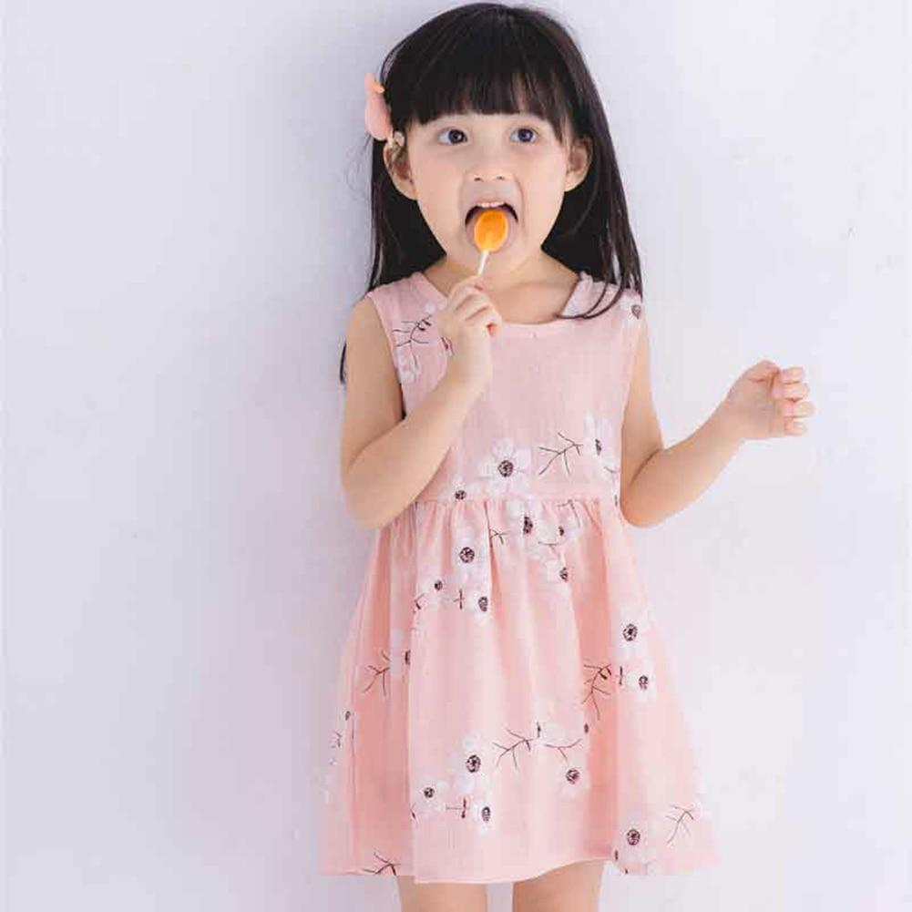 Dresses 204359.01 / 2T Sleeveless Flower Print Cotton and Linen floral Dress for Girls