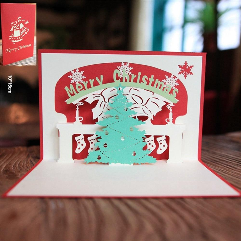Cards & Invitations Pop Up Christmas Card  3D Greeting Cards A