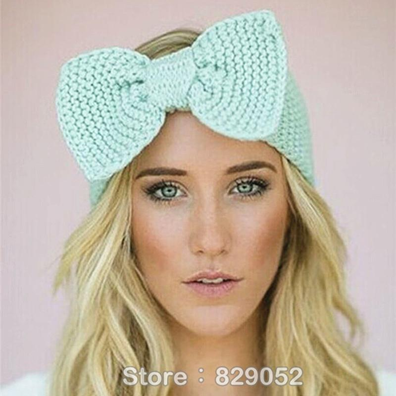 Crochet Bow Headband For Women Girls Winter Knitted Hairband