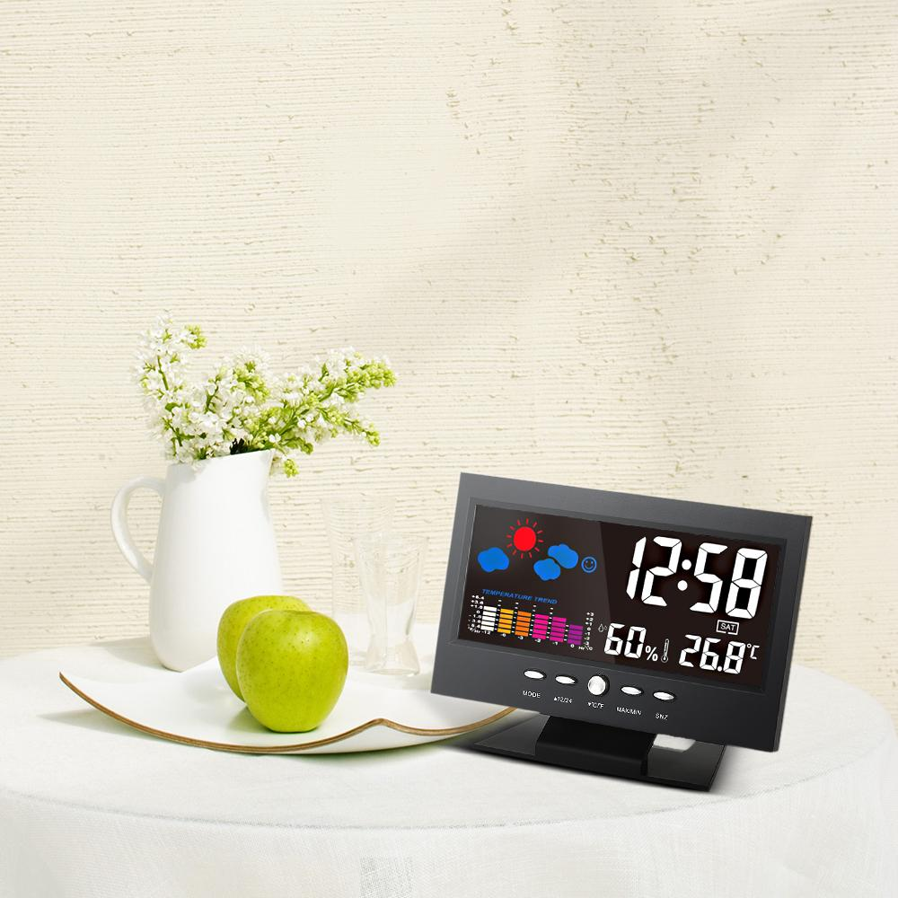 Digital Weather Station Alarm Clock Temperature Gauge