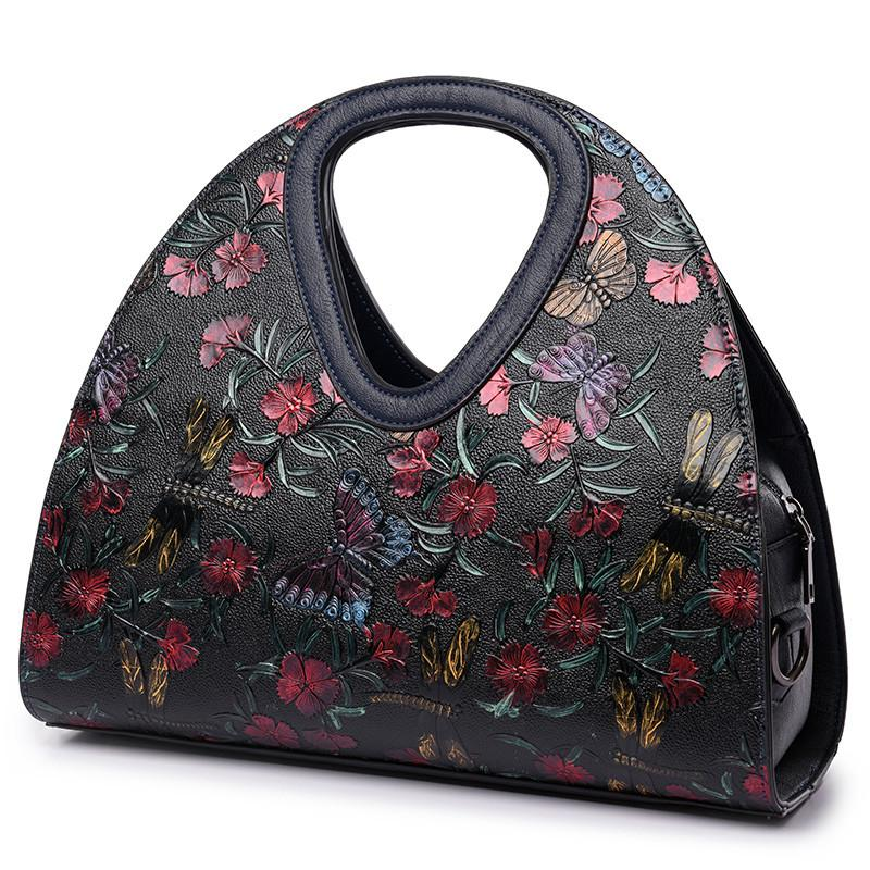 Embroidered butterfly  Retro Leather Designer bag