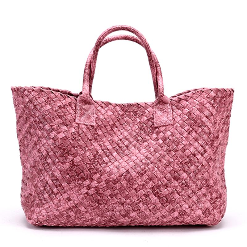 Top-Handle Bags bronze / (30cm<Max Length<50cm) Woven Synthetic Leather Handbag Large Tote Bucket bag