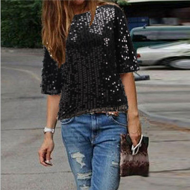 Blouses & Shirts Black / S Short Sleeve Round Neck Sequin Blouse Shirts