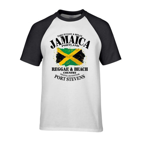 Short Sleeve Cotton Tees Jamaica  Flag Printed Shirts