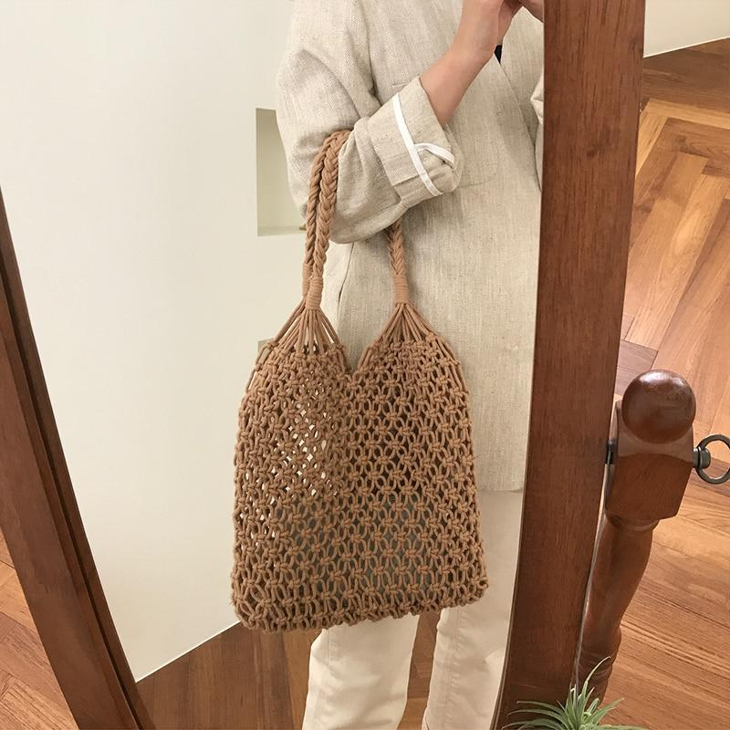 Shoulder Bags Woven Hollow Straw Bag beige