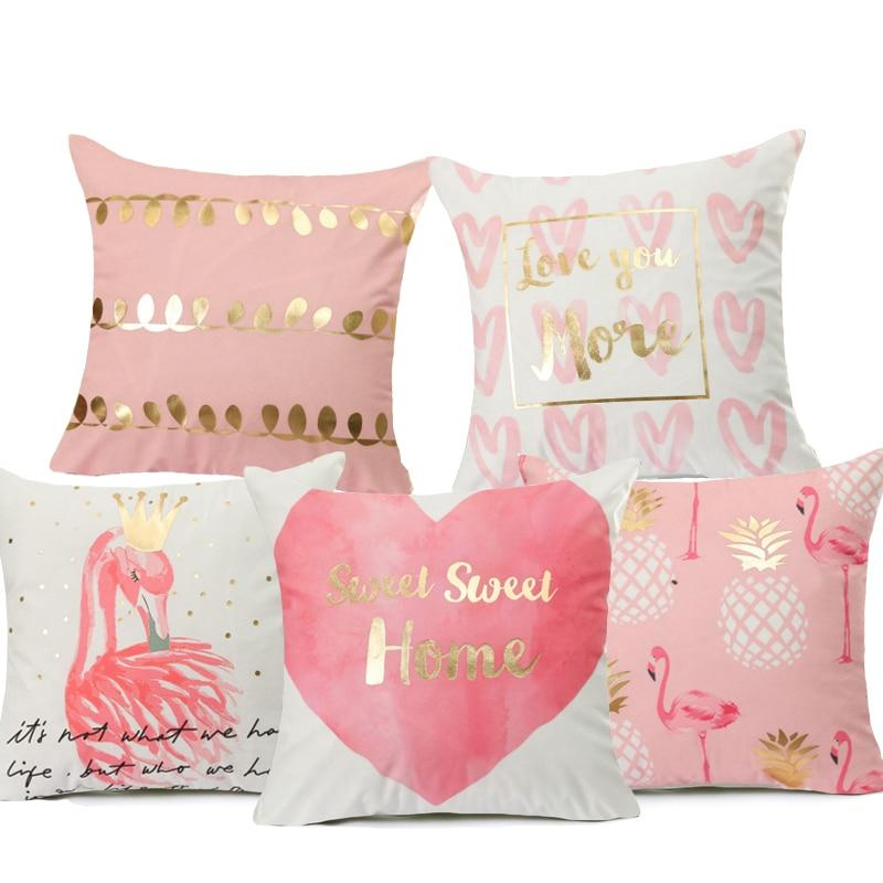 1 Polyester Pink Printed Home Decor Pillows Covers