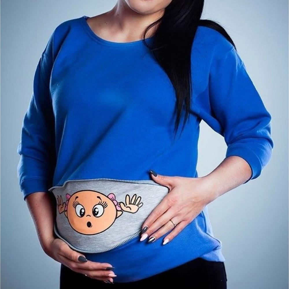 Tees Long Sleeve Maternity Shirts Pregnancy Tees Blue / M