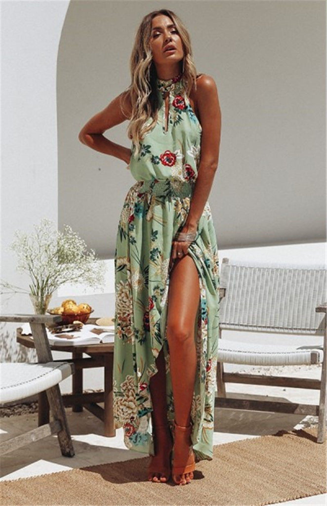 Dresses Ladies Halter Casual Loose Dress Floral Green / S
