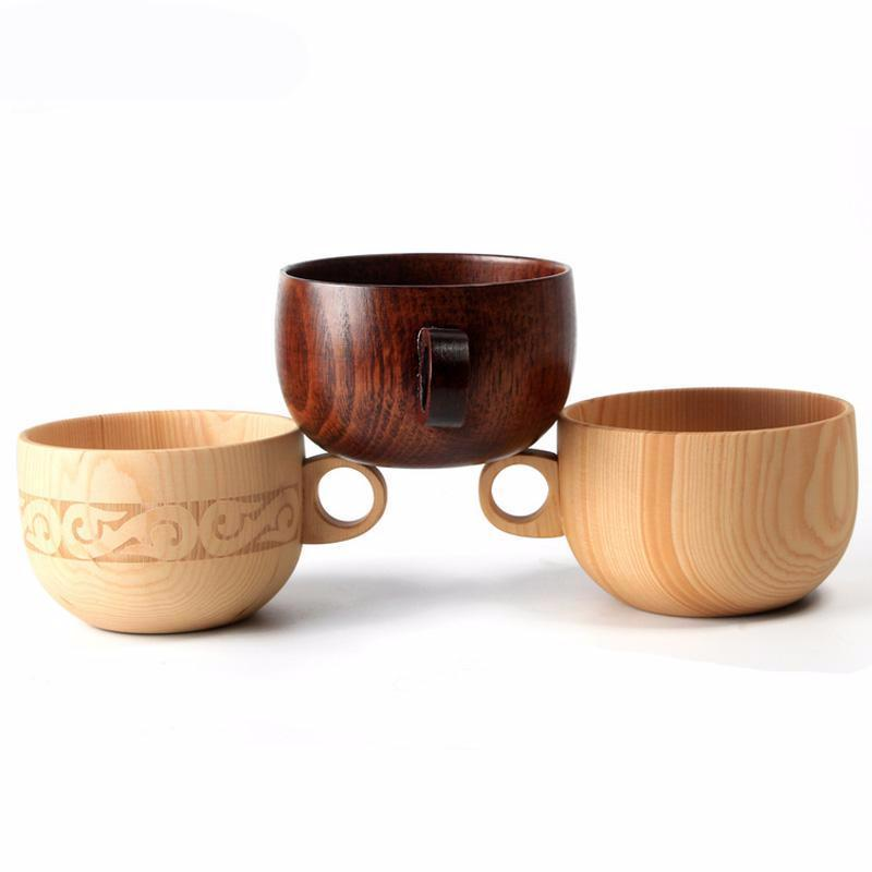 Natural Spruce Wood Tea Coffee Mug Drink ware Kitchen Accessories