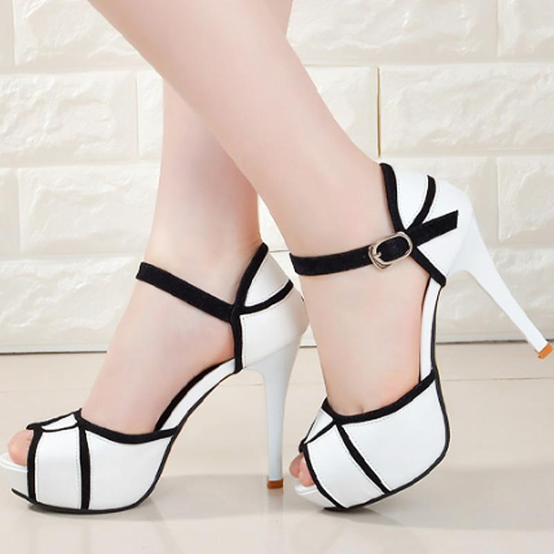 Ladies shoes Solid black and white Women's Buckle Strap Heels