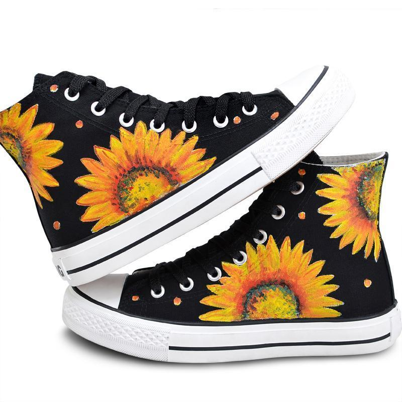 1 / 3.5 Sunflower Hand Painted High Tops  Sneakers Canvas Shoes