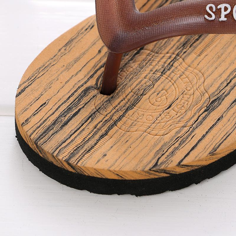 Flip Flops Green / 7.5 Summer Casual Men Wood Grain Flat Wedge Sandals