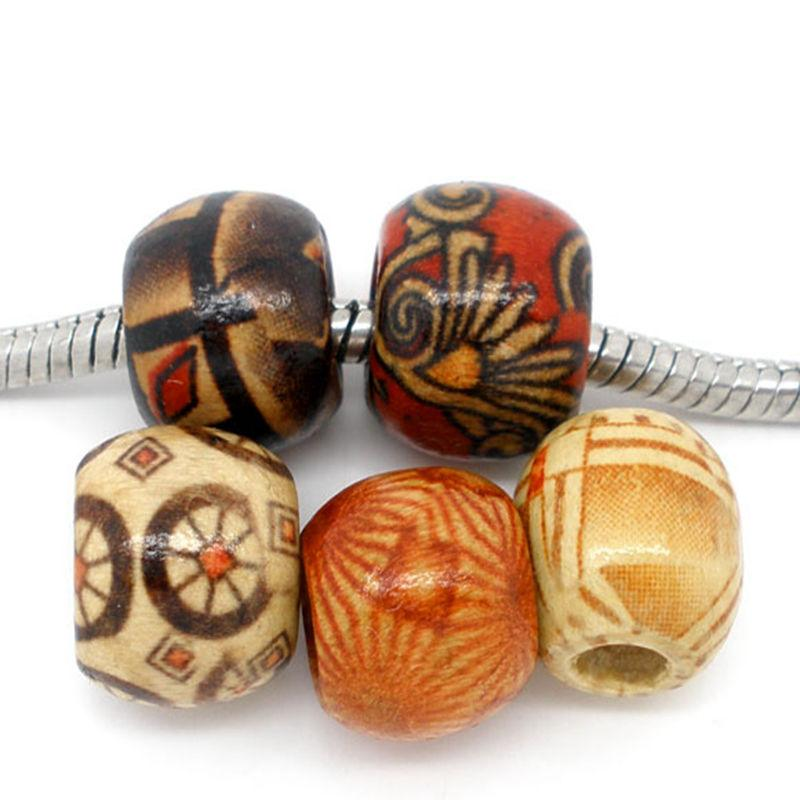 Wooden Beads Random Mix Drum Pattern 11x12mm