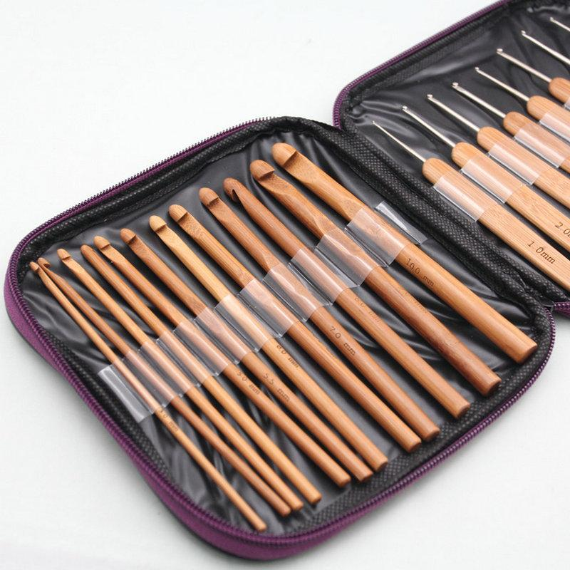 Knitting Needles and Crochet Needles Set With Case Bamboo Wood