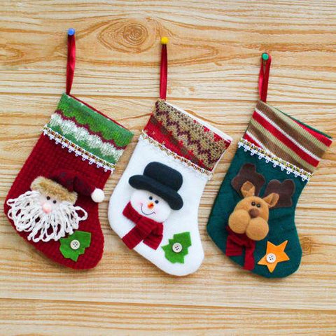 Embroidered Xmas Stocking Sack Santa Christmas Decoration