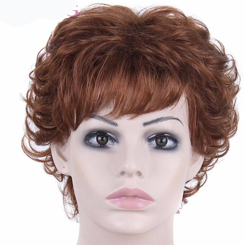 Short Pixie Cut Curly Hair Light Brown Wig