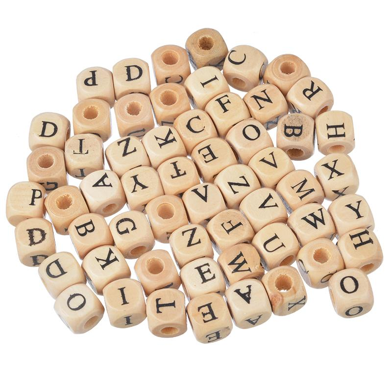 Square Wooden Bead Carved Letters Alphabet  100PCs