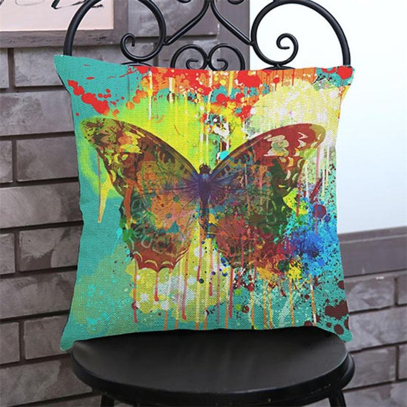 Cushion Butterfly Painting Linen Cushion Cover