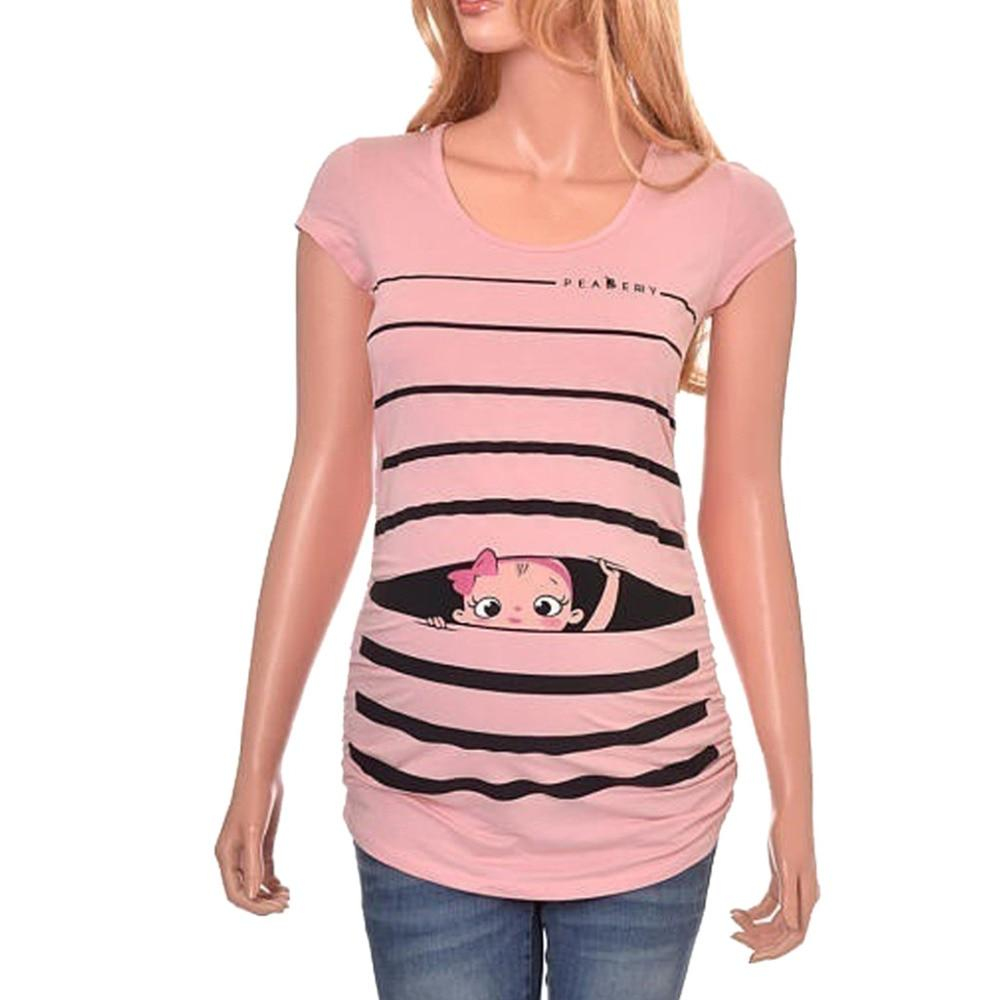 Tees Black / S Striped Short Sleeve T-shirt for  Pregnant Women
