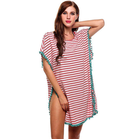 Casual Scoop Neck Short Sleeve Striped  Beachwear Cover-Up