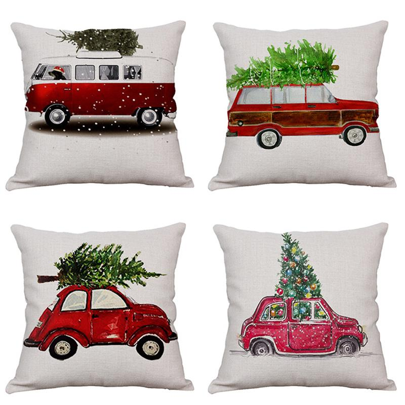 Christmas Tree Linen Pillowcase