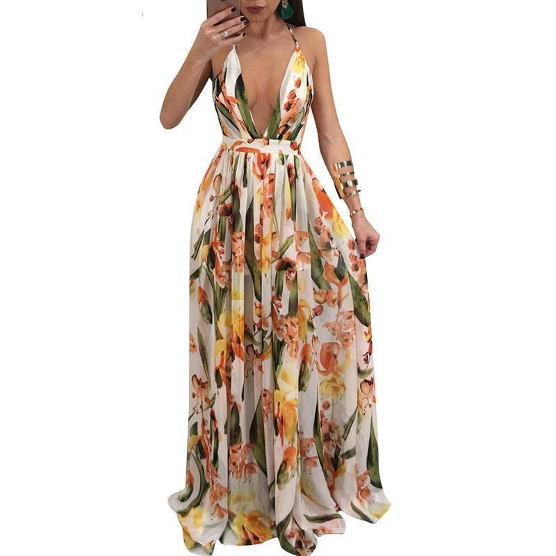 Chiffon Maxi Dress Sexy Backless Summer Evening Dress