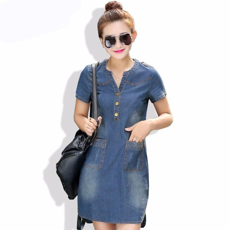 deep blue / S Dresses with Short Sleeve Loose Casual V-neck
