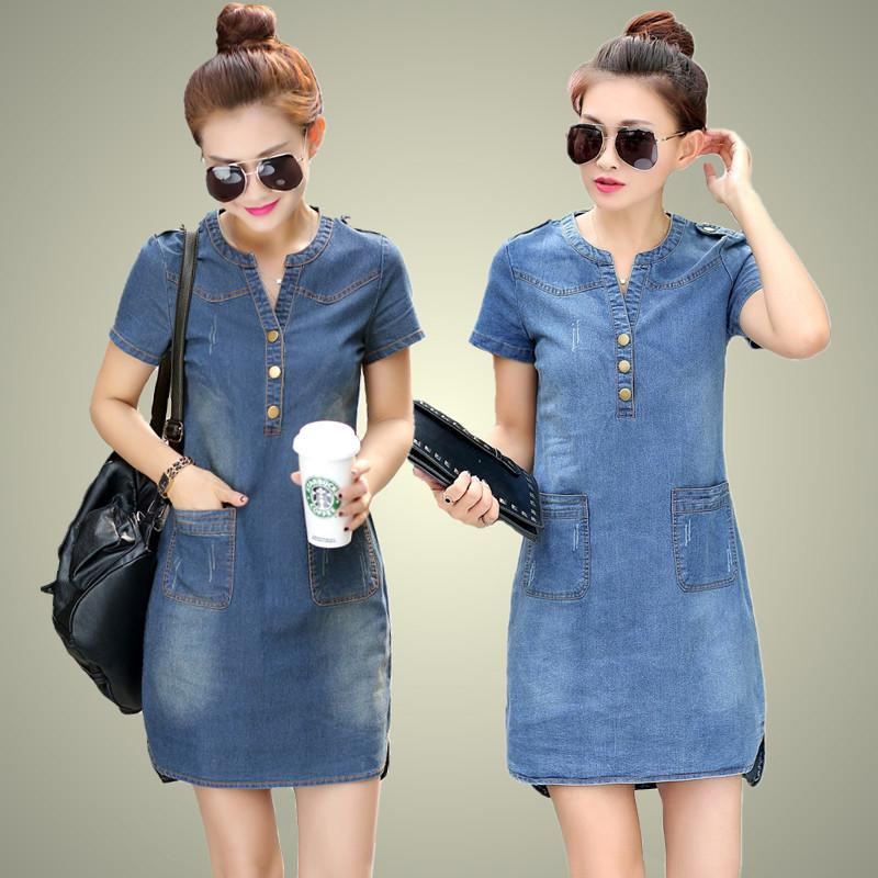 Dresses with Short Sleeve Loose Casual V-neck