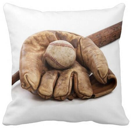 Pillow Case 14x14 inch Baseball and Bat Creative Design Throw Pillow Case