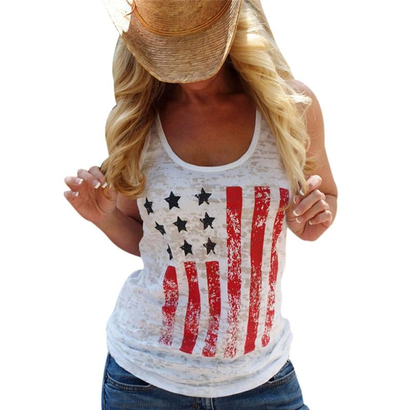 Tank Tops WHITE / S Patriotic American  Flag Printed  Stars Stripes Tank Top