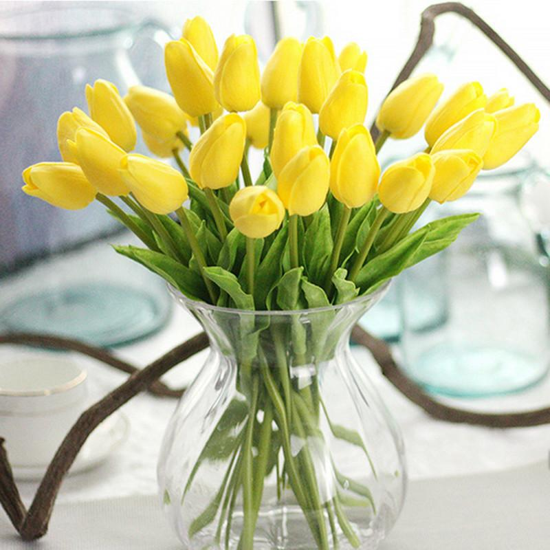 yellow Tulips Artificial Mini Tulip for Home Wedding Decoration 20pcs