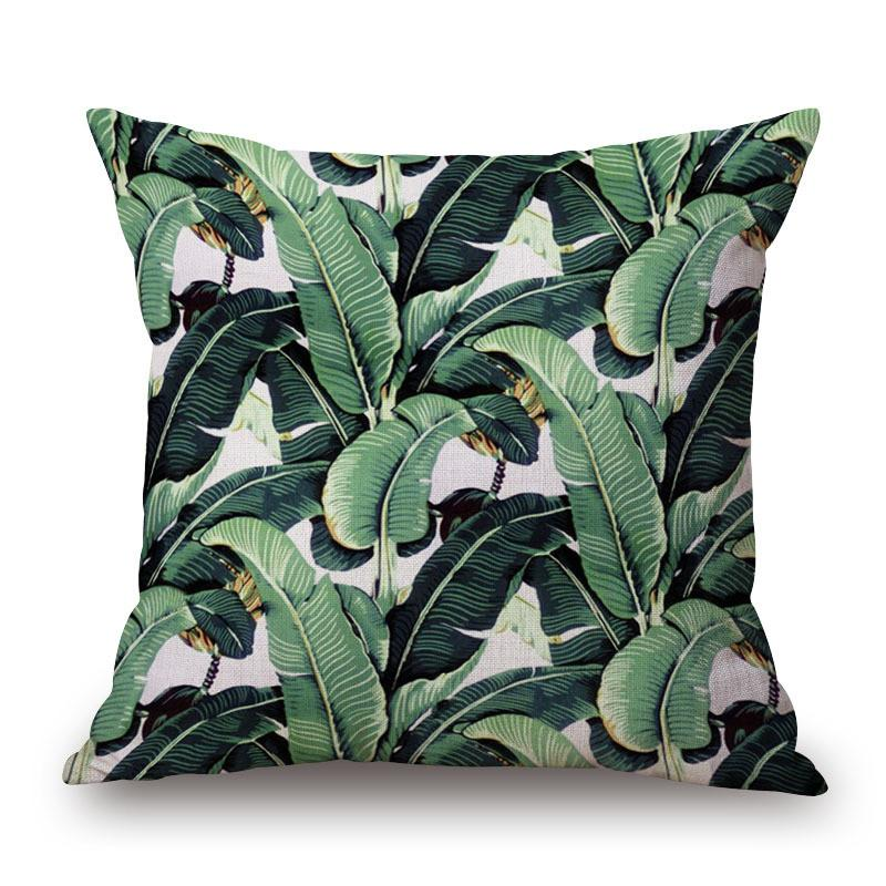 Cushion Cover 2 Green Leaf Tropical Plant Flamingo Birds Pillow Cases